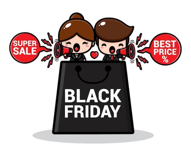Um lindo casal de vendas promocionais com uma grande sacola preta de compras na sexta-feira