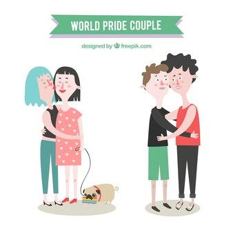 Um lindo casal homossexual abraçou
