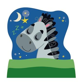 Um lindo cavalo zebra dorme sob um cobertor verde. ilustração em vetor em estilo cartoon para crianças