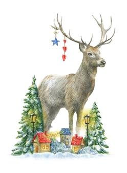 Um lindo cervo de natal fica perto de árvores nevadas e casas coloridas com lanternas amarelas.