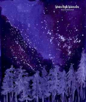 Um lindo fundo aquarela guache de noite de inverno