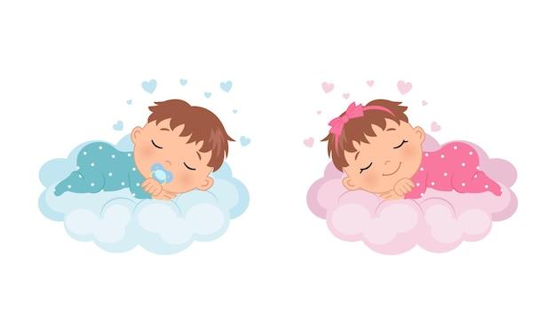 Um lindo menino e uma menina dormindo em uma nuvem