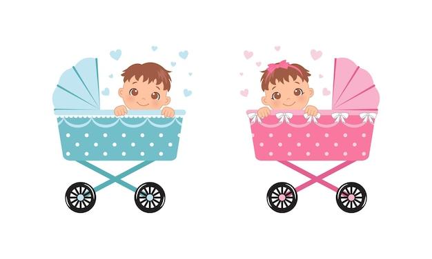 Um lindo menino e uma menina em um carrinho isolado no branco