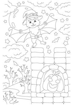Um lindo morcego voou para o castelo. página do livro de colorir para crianças. tema de halloween
