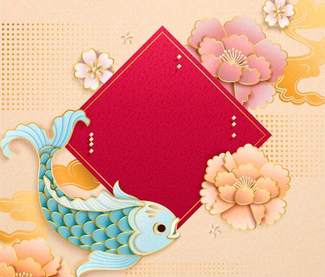Um lindo peixe azul-claro em estilo de arte em papel com dístico de primavera em branco e peônia