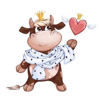 Um lindo príncipe bezerro com um lenço real em volta do pescoço pega um coração com asas e uma coroa.