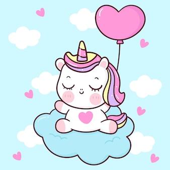 Um lindo unicórnio dormindo na nuvem com um balão em forma de coração para o animal kawaii do dia dos namorados