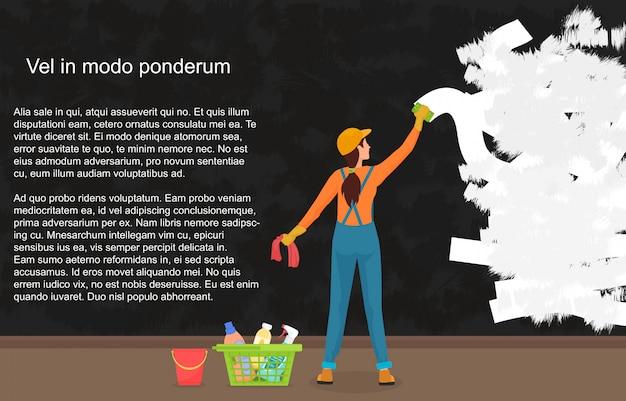 Um líquido de limpeza da mulher dos desenhos animados limpa afastado uma parede suja escura. pintando uma parede de cor.
