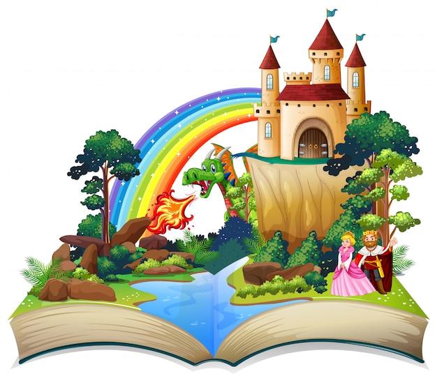 Um livro aberto de conto de fadas