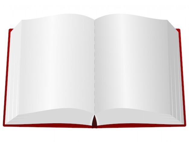 Um livro aberto na capa vermelha