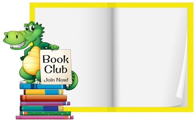 Um livro em branco com modelo de crocodilo