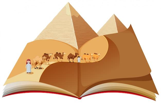 Um livro pop up com caravana no deserto