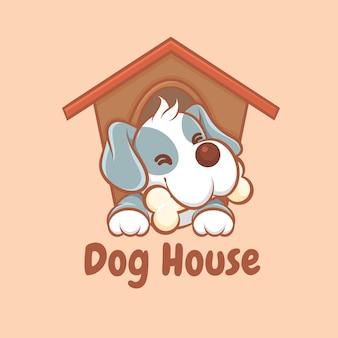 Um logotipo bonito de desenho animado de casa de cachorro