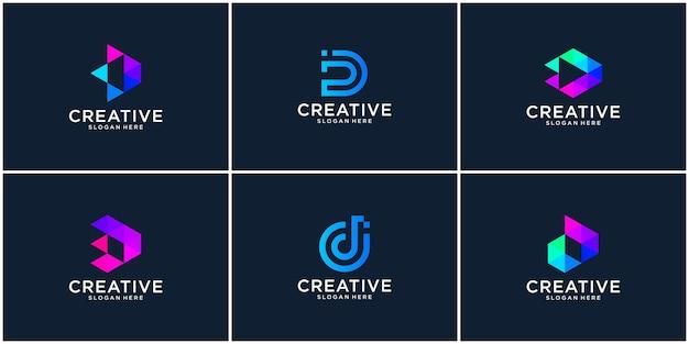Um logotipo com as iniciais d em um estilo de tecnologia para a empresa