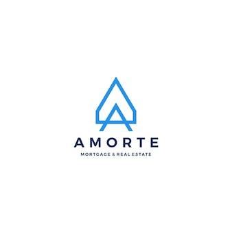 Um logotipo da imobiliária de hipoteca home da letra casa