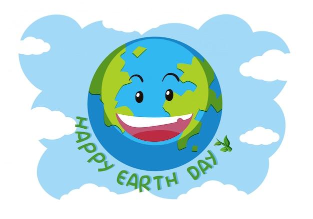 Um logotipo da terra feliz