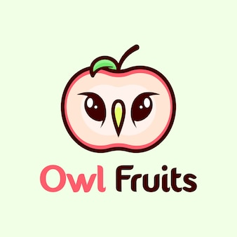 Um logotipo de maçã com logotipo de desenho animado de rosto