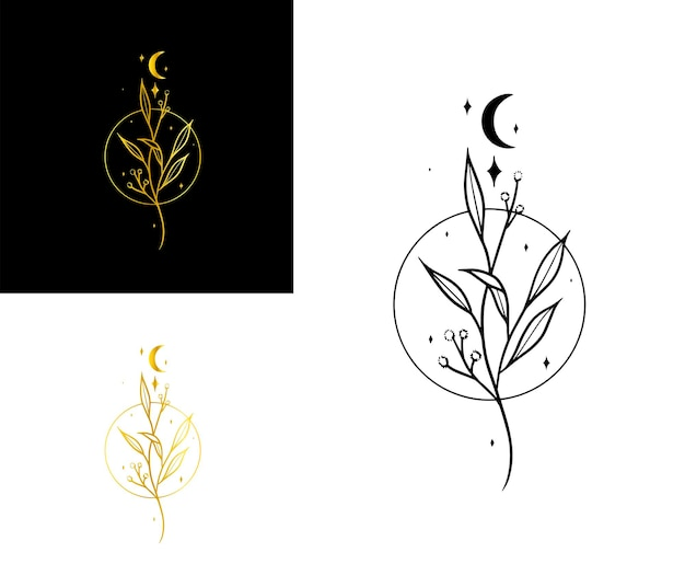 Um logotipo elegante com a lua e as estrelas e folhas e um círculo elegant luxury sparkly boho