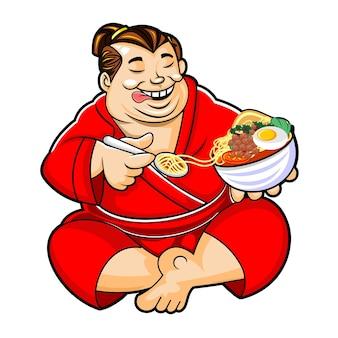 Um lutador de sumô come ramen feliz