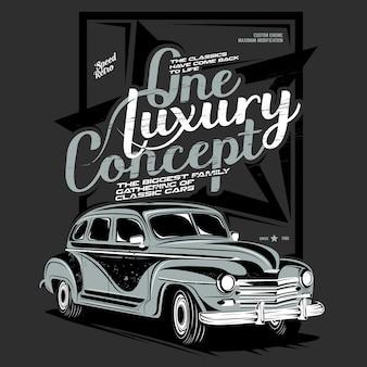 Um luxo, ilustração de carro clássico super luxo