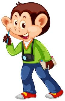 Um, macaco, cameraman, personagem