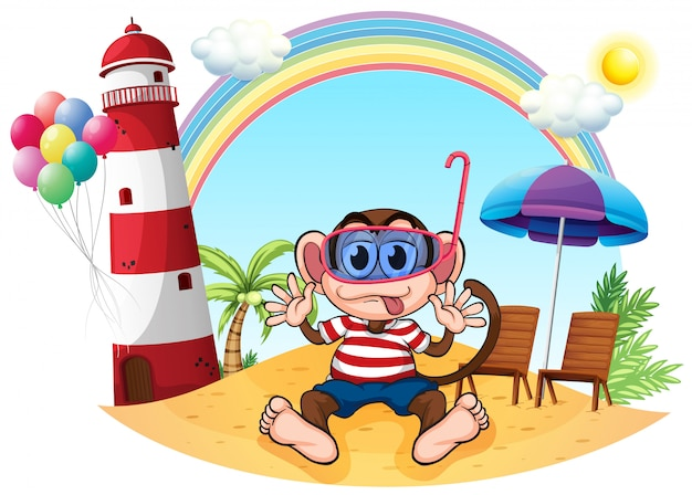 Um macaco com óculos de proteção na praia