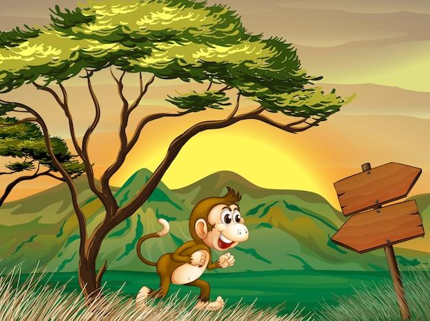 Um macaco correndo com uma placa de flecha de madeira