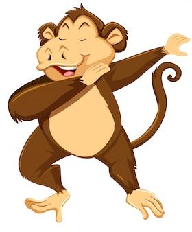 Um macaco dab no fundo branco