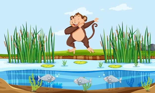 Um macaco na natureza