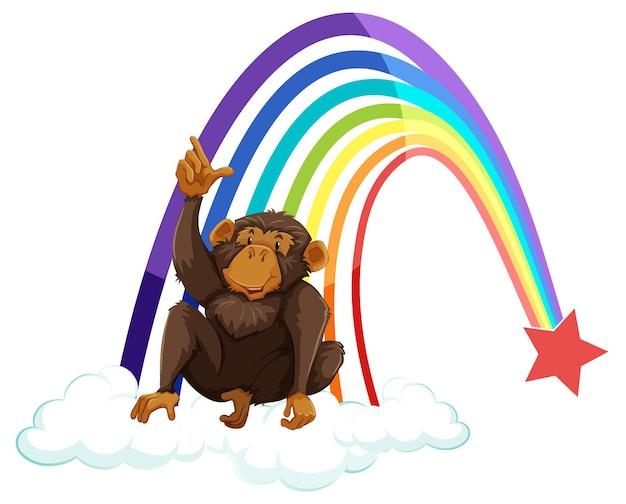 Um macaco na nuvem com arco-íris no fundo branco