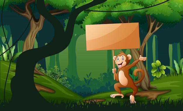 Um macaco segurando placa de madeira na paisagem da floresta