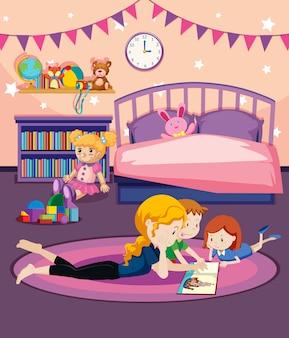 Um, mãe, livro leitura, para, crianças