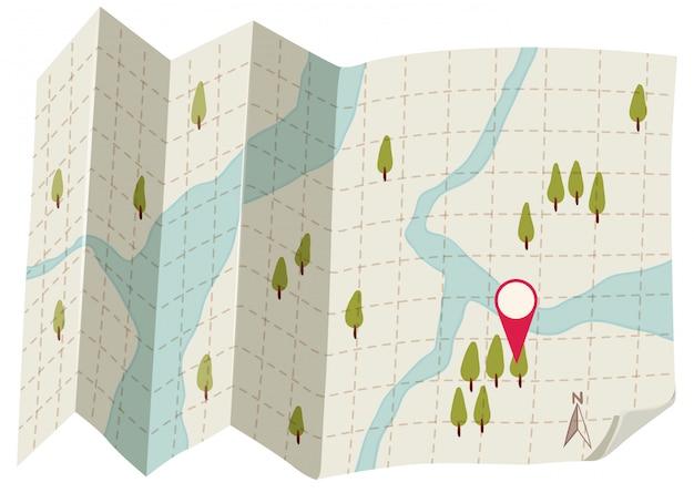 Um mapa no fundo branco