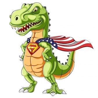 Um mascote de dinossauros de super-herói dos desenhos animados