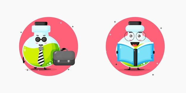 Um mascote fofo de garrafa de poção vai funcionar e está lendo um livro