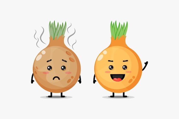 Um mascote fofo para cebolas frescas e cebolas podres