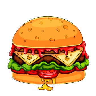 Um, mascote, hamburger, cheeseburger, personagem de desenho animado