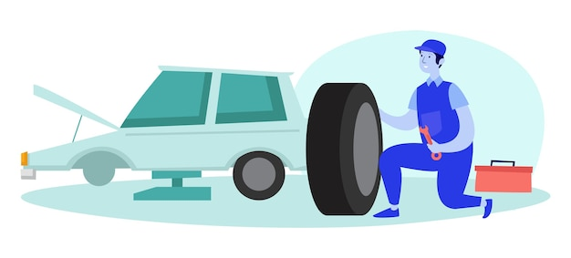 Um mecânico está consertando um pneu de carro quebrado