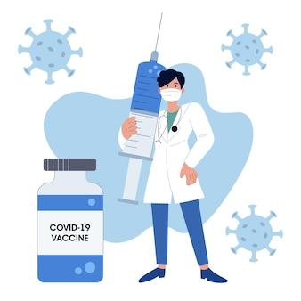 Um médico com máscara sanitária segura uma seringa com uma vacina para proteger contra os patógenos do coronavírus covid-19. ilustração vetorial. lute contra o coronavírus.