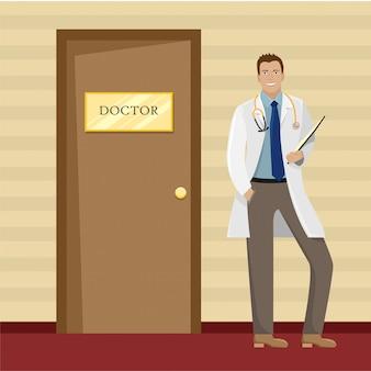Um médico em uma túnica branca com uma pasta nas mãos perto do consultório médico.