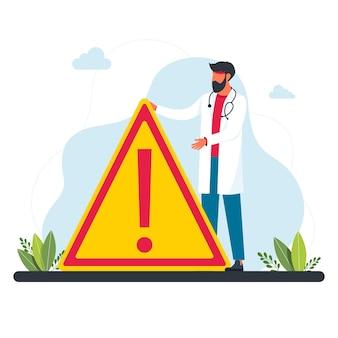Um médico está diante de uma grande placa de alerta. um médico de jaleco branco alerta sobre o perigo. conceito de medicina e proteção humana. ilustração vetorial