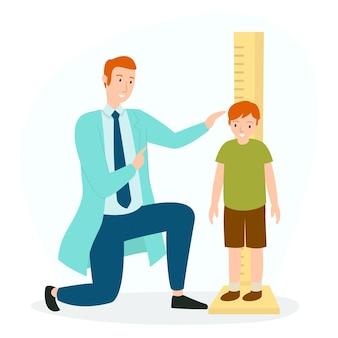 Um médico está medindo a altura de um paciente