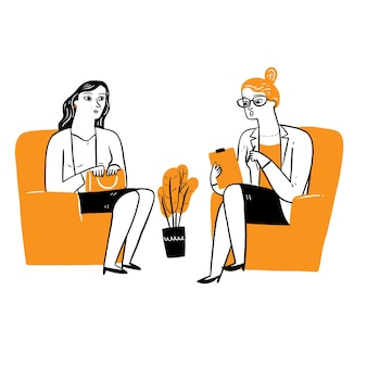 Um médico ou conselheiro está conversando com alguém que tem um problema. ilustração vetorial desenho à mão estilo doodle