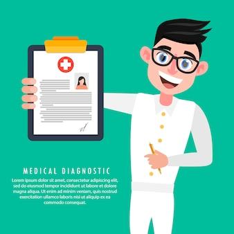Um médico possui um cartão médico de uma mulher