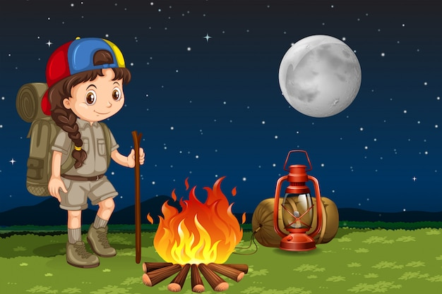 Um, menina, acampamento, à noite