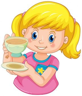 Um, menina, chá bebendo