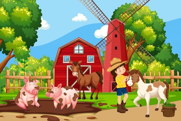 Um, menina, em, natureza, fazenda