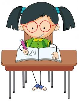 Um, menina, estudar, escrivaninha