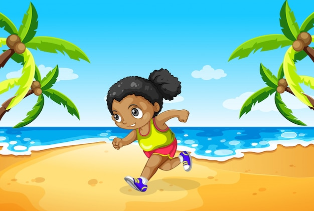 Um, menina, executando, praia