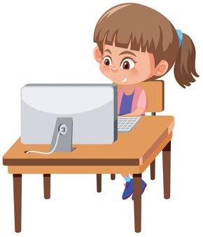 Um, menina, jogando computador